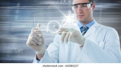 Digital composite of Man in lab coat and goggles with glass device and white interface against motion blur
