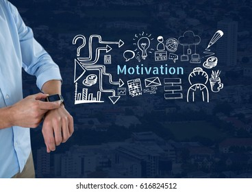 Digital composite of Man with smart watch and Motivation text with drawings graphics