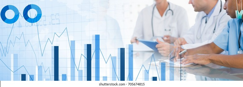 Digital composite of Medical doctors having a meeting with charts and figures statistics transition effect