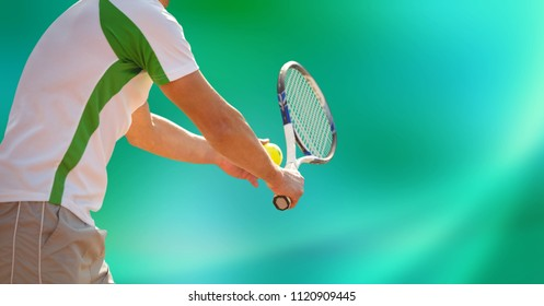 Digital composite of Mid-section of tennis player