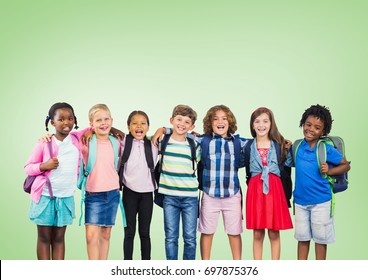Digital composite of Multicultural School kids  in front of green background