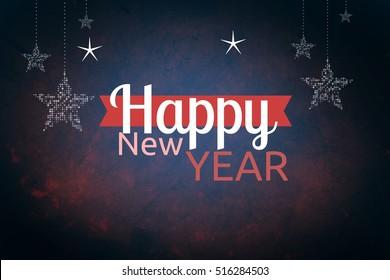 Digital Composite of New Year Message on Dark Background Design