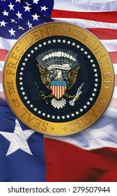 Digital composite: The official seal of the President, American flag, state flag of Texas
