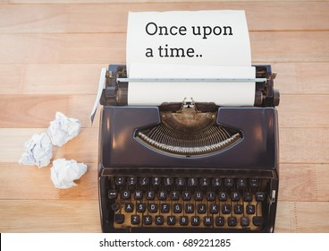 Digital composite of Once upon a time  text written on page with typewrite