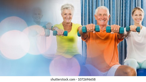 Digital composite of People lifting dumbbells in gym