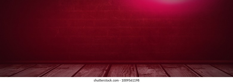 Digital composite of Pink light over wall and wooden floor