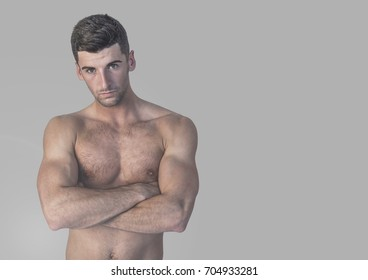 Digital composite of Portrait of fit and strong Man with grey background