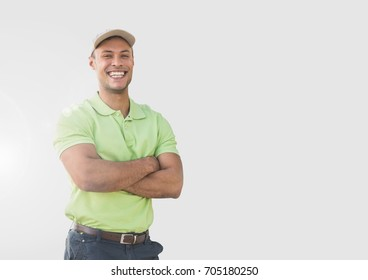 Digital composite of Portrait of Man wearing cap with grey background