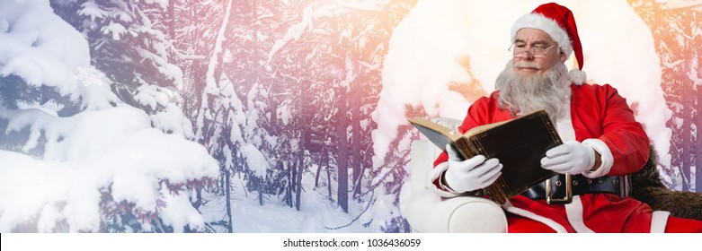 Digital composite of Santa Claus in Winter with book