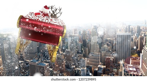 Digital composite of Santa flying in sleigh with reindeer over city