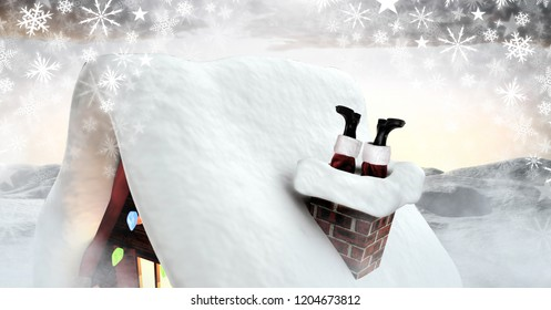 Digital composite of Santa stuck in chimney in Winter snow