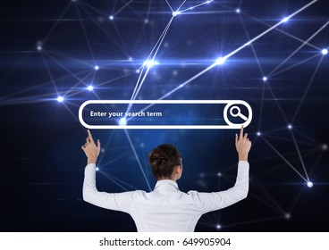 Digital composite of Search Bar with woman holding arms open touching