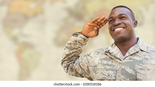 Digital composite of Soldier smiling and saluting against blurry yellowish map