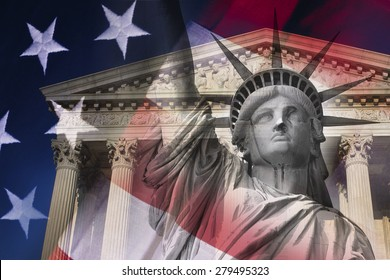Digital composite: Statue of Liberty and Supreme Court Building