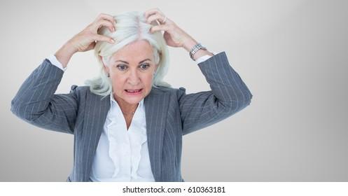 Digital composite of Stressed older woman against grey background