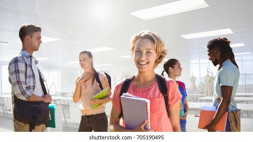 Digital composite of Students in front of classroom background