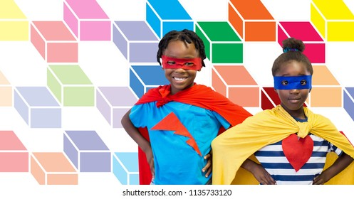 Digital composite of Superhero children with colorful geometric pattern