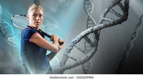 Digital composite of Tennis player with grey dna chain background and blue lights
