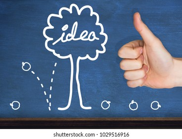 Digital composite of Thumbs up wall with idea graphic