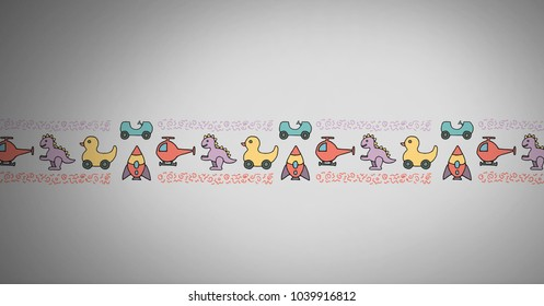 Digital composite of toy pattern on grey background