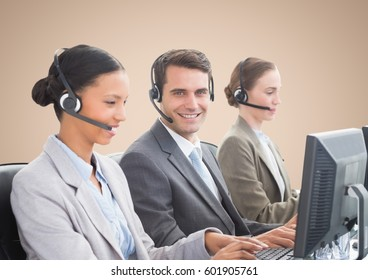 Digital composite of Travel agents smiling against beige background