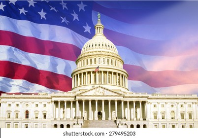 Digital composite: U.S. Capitol with American flag