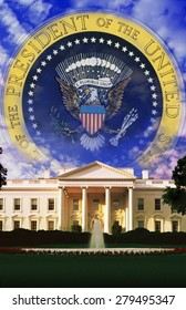Digital composite: The White House and Seal of the President