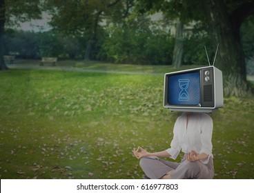 Digital composite of Woman doing yoga. tv head.