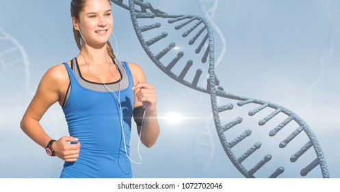 Digital composite of Woman listening to music while jogging by DNA structure