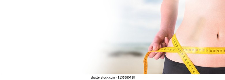 Digital composite of Woman measuring weight with measuring tape on waist on Summer beach with transition