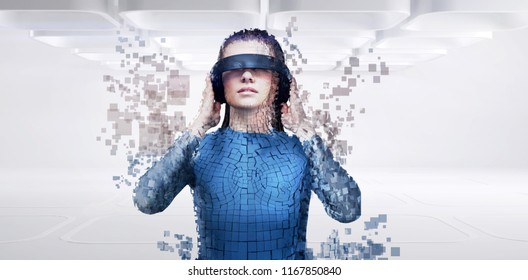 Digital composite of woman with a virtual reality simulator against close-up of pixelated gray 3d man