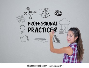 Digital composite of Young woman writing the graphic about professional practice on the wall