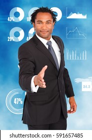 Digital composition of businessman offering hands for handshake with various charts in background