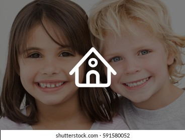 Digital composition of siblings smiling against house outline in background