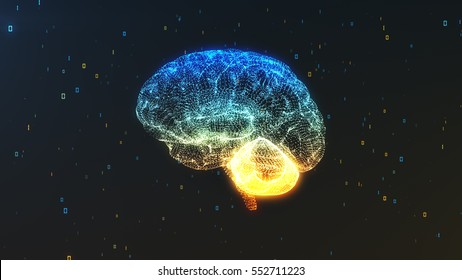 Digital computer brain 3D render floating in profile view with numerical information background illustrating the concepts of Big Data and artificial intelligence