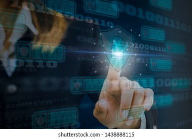 Digital concept cyber security and computer crime and prevention of Internet-based attack with block chain technology, Business woman use fingers touch padlock and shield with virtual screen