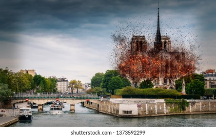 Digital concept of early stages of Notre Dame Cathedral fire, which occured on April 15, 2019 in Paris, France. Fire quickly spread collapsing the spire and causing extensive damage
