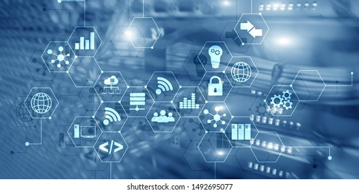 Digital concept internet of things information and telecommunication technology. Double exposure icons and server room background