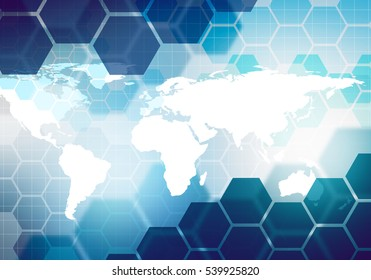 Digital conceptual gradiented image hexagon striped business technology background with world map for corporate brand, presentation, graphic design.