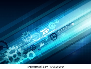 Digital conceptual gradiented image hexagon striped business technology background with arrow and mechanical gears for corporate brand, presentation, graphic design.