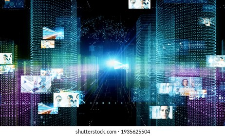 Digital contents concept. Social networking service. Streaming video. communication network. 3D illustration.