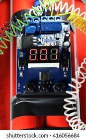 digital countdown timer of a bomb one second before explosion