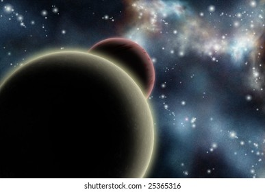 Digital created starfield with cosmic Nebula and planets