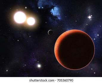 Digital created starfield with cosmic Nebula and dark planet