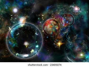 Digital created starfield with cosmic Nebulas and by enigmatic circles