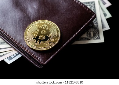 Digital crypto currency gold bitcoin and American dollars. Business concept of new virtual money