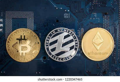 Digital crypto currencys Bitcoin, Ethereum, Litecoin
