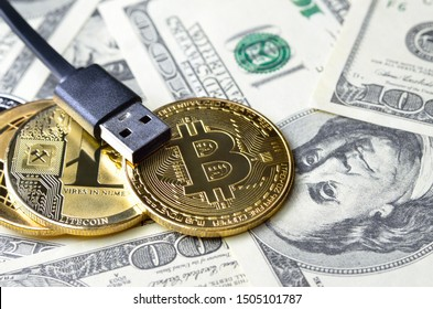 Digital cryptocurrency in the background of the american dollar.