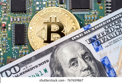 Digital cryptocurrency gold bitcoin, electronic computer component and american dollar. Business concept of new virtual money