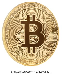 Digital cryptocurrency golden bitcoin (BTC) isolated on white background with clipping path